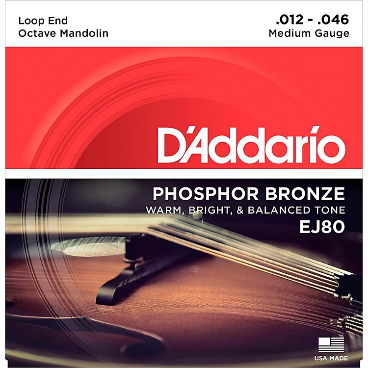 D'AddarioEJ80 Octave Mandolin Strings, Medium, 12-46Phosphor Bronze