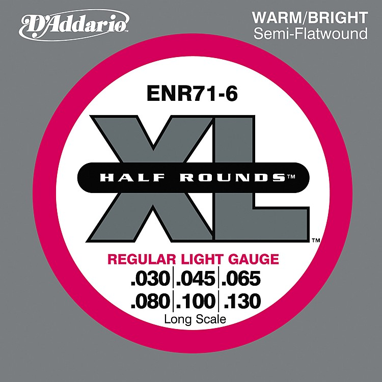 D'Addario ENR71-6 Half Rounds Light 6-String Bass Strings  Piano