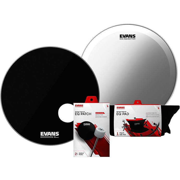 Evans EQ3 System Pack 22 inch Bass Drum Head Set Black