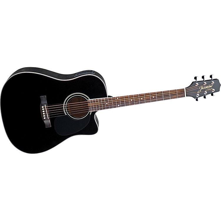Jasmine ES341C Cutaway Dreadnought Acoustic-Electric Guitar Black