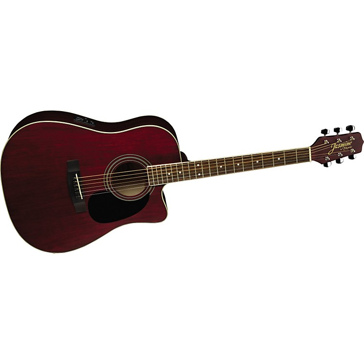 JasmineES35C Dreadnought Acoustic-Electric GuitarWine Red