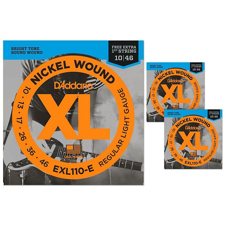 D'AddarioEXL110-E Bonus Pack: Light Electric Guitar String 3 Pack with 3 Bonus High E Strings (10-46)