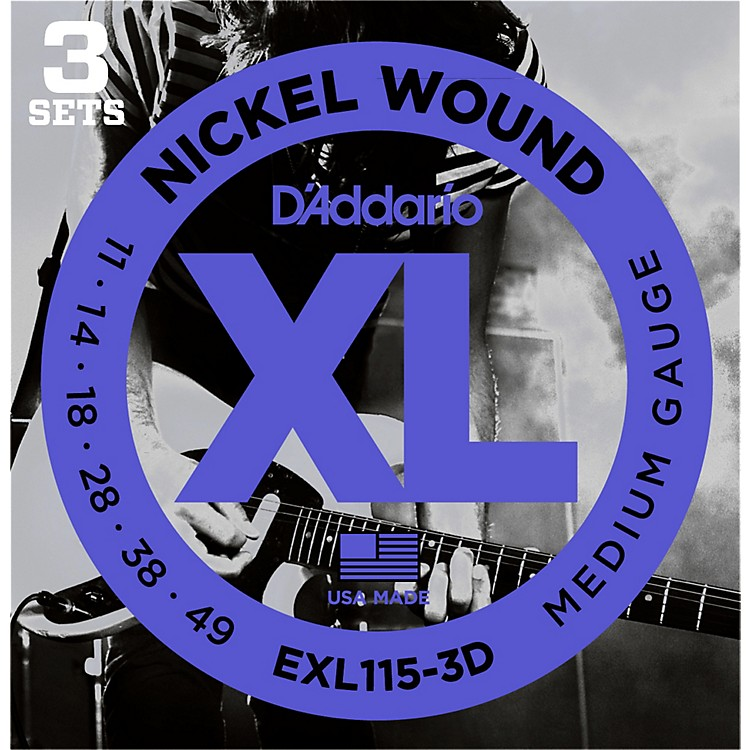 D'Addario EXL115 Nickel Blues/Jazz Electric Guitar Strings 3-Pack
