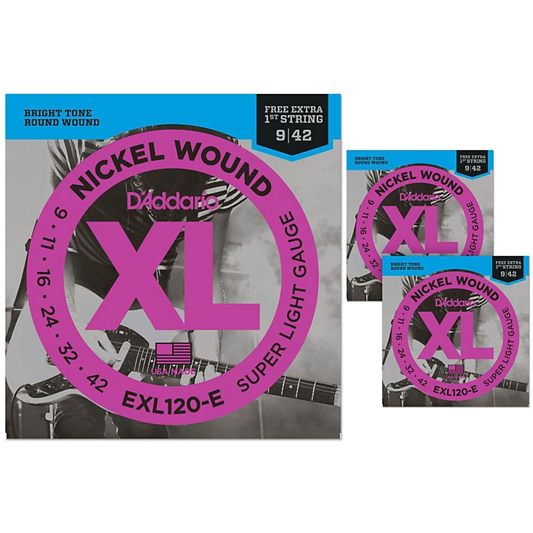 D'AddarioEXL120-E Bonus Pack: Super Light Electric Guitar Strings 3 Pack with 3 Bonus High E Strings (9-42)