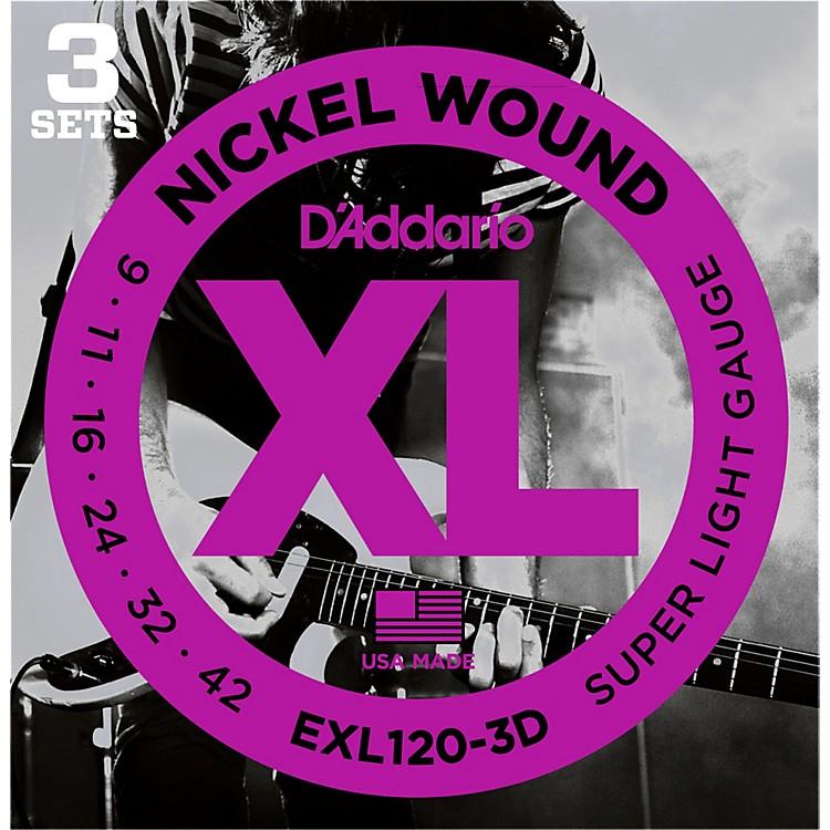 D'AddarioEXL120 Nickel Super Light Electric Guitar Strings (3-Pack)