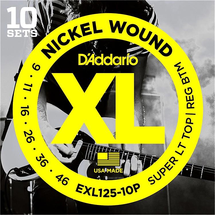 D'AddarioEXL125 Super Light Top/Regular Bottom Electric Guitar Strings 10-Pack