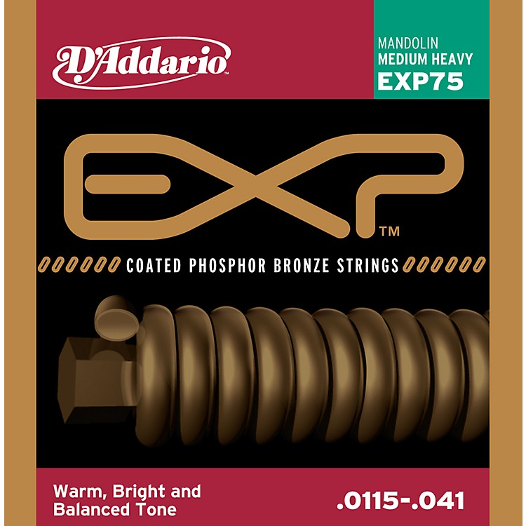 D'Addario EXP Coated Phosphor Bronze Mandolin Strings  Heavy