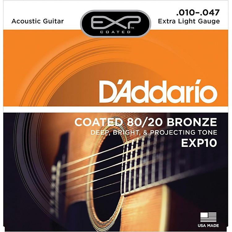 D'AddarioEXP10 Coated 80/20 Bronze Extra Light Acoustic Guitar Strings