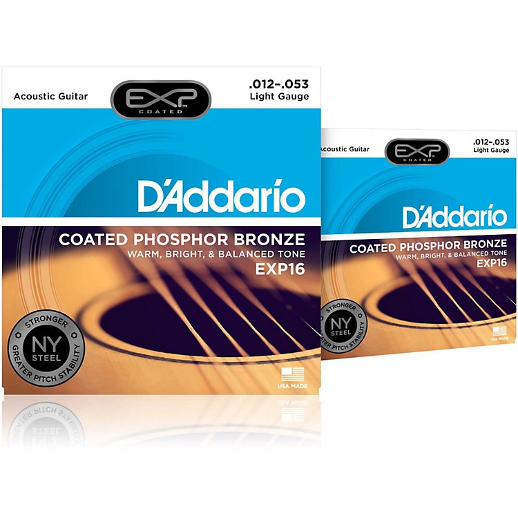 D'AddarioEXP16 Coated Phosphor Bronze Light Acoustic Guitar Strings 2-Pack
