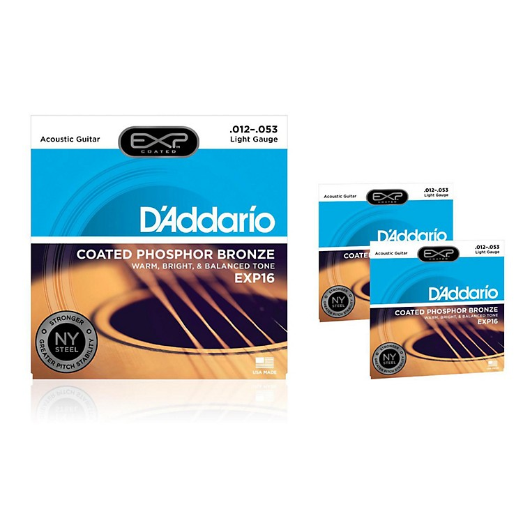 D'AddarioEXP16 Coated Phosphor Bronze Light Acoustic Guitar Strings 3-Pack