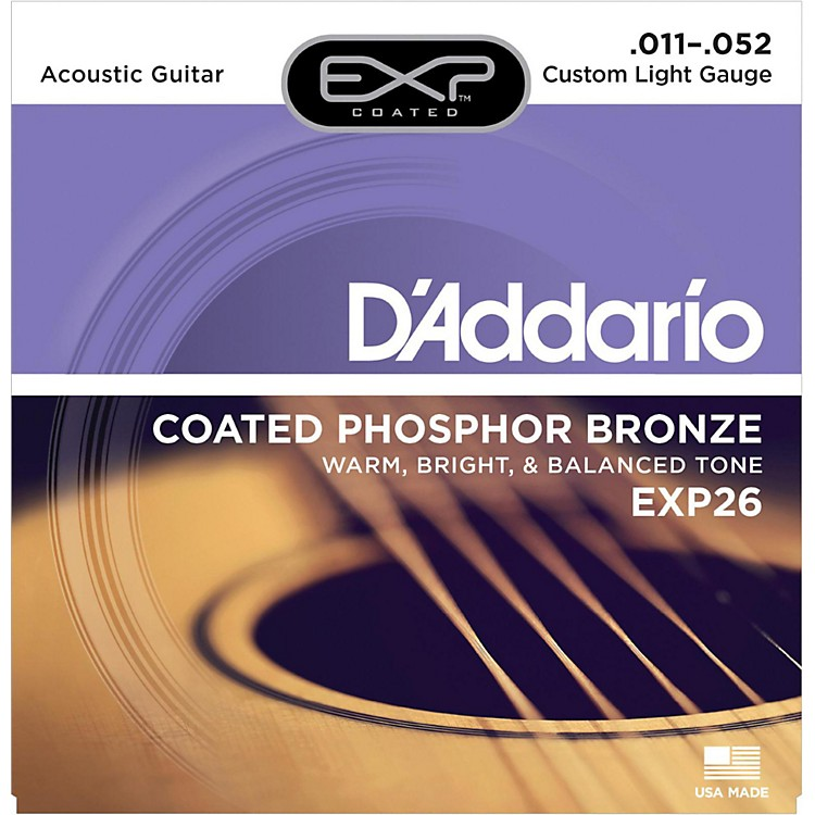 D'AddarioEXP26 Coated Phosphor Bronze Custom Light Acoustic Guitar Strings