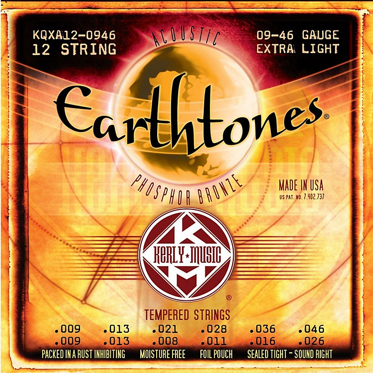 Kerly MusicEarthtones Phosphor Bronze 12-String Acoustic Guitar Strings - Extra Light 9-46