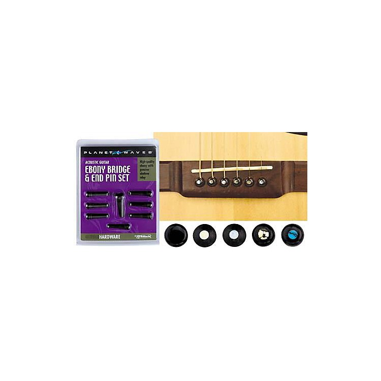 D'Addario Planet Waves Ebony Bridge/End Pin Set Ebony and Abalone