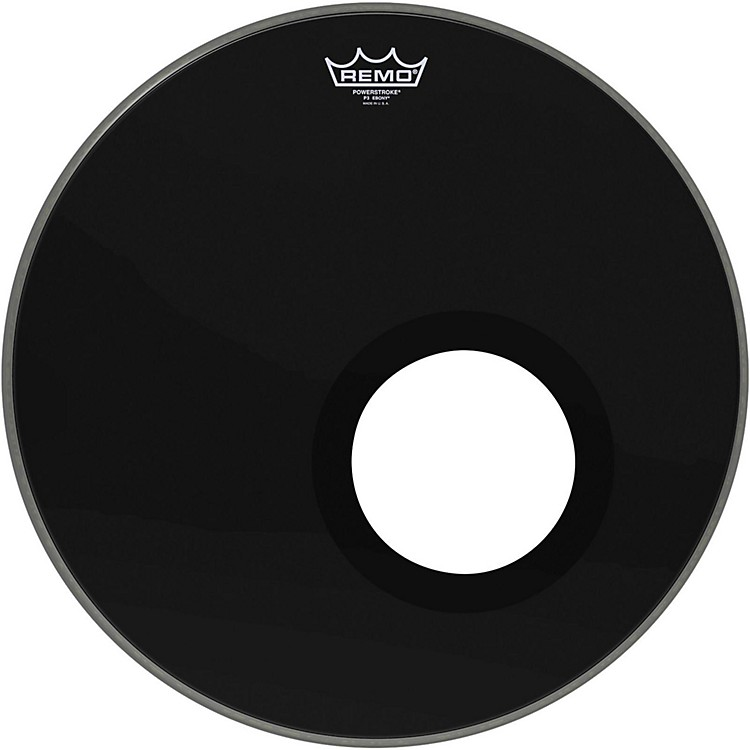 Remo Ebony Powerstroke 3 Resonant Bass Drum Head with 5 Inch Port Hole Ebony 18 in.