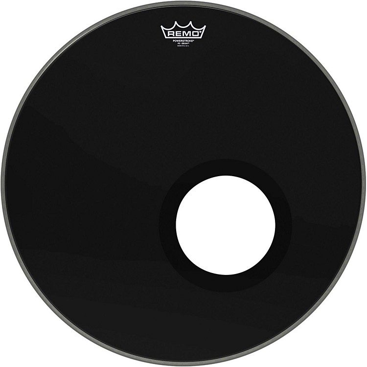 RemoEbony Powerstroke 3 Resonant Bass Drum Head with 5 Inch Port HoleEbony20 in.