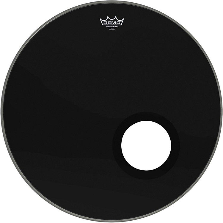 Remo Ebony Powerstroke 3 Resonant Bass Drum Head with 5 Inch Port Hole Ebony 24 in.