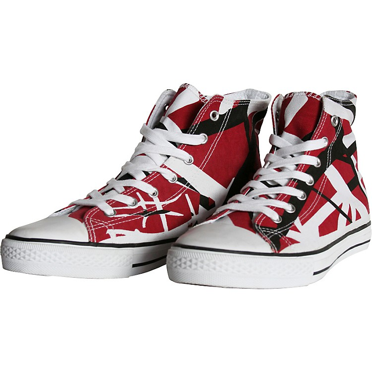EVH Eddie Van Halen High Top Sneakers - Red, Black, and White Striped