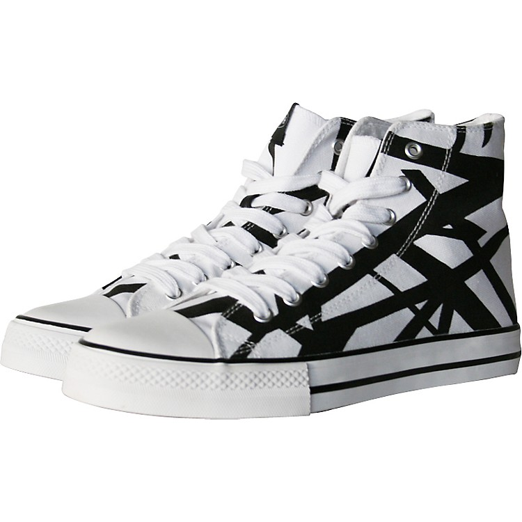 EVH Eddie Van Halen High Top Sneakers - White with Black Stripes Black/White 9