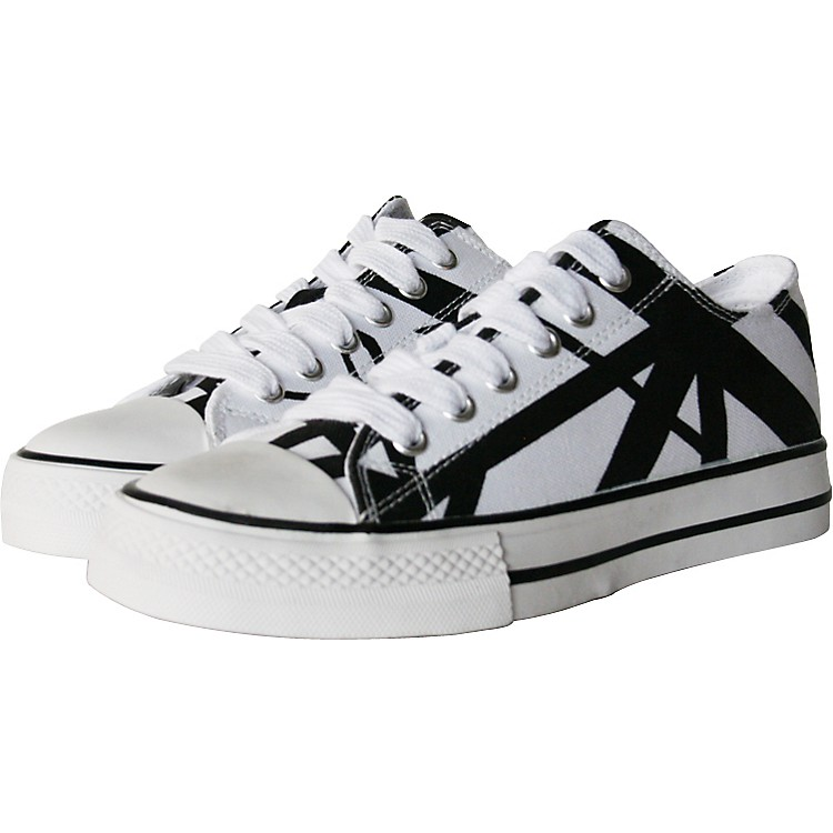 EVH Eddie Van Halen Low Top Sneakers - White with Black Stripes Black/White 6