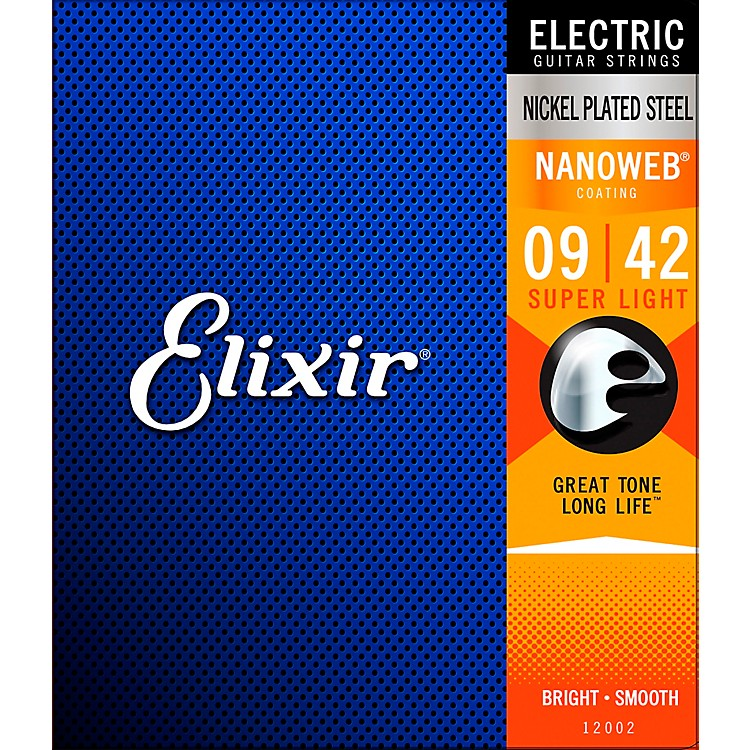Elixir Electric Guitar Strings with NANOWEB Coating, Super Light (.009-.042)