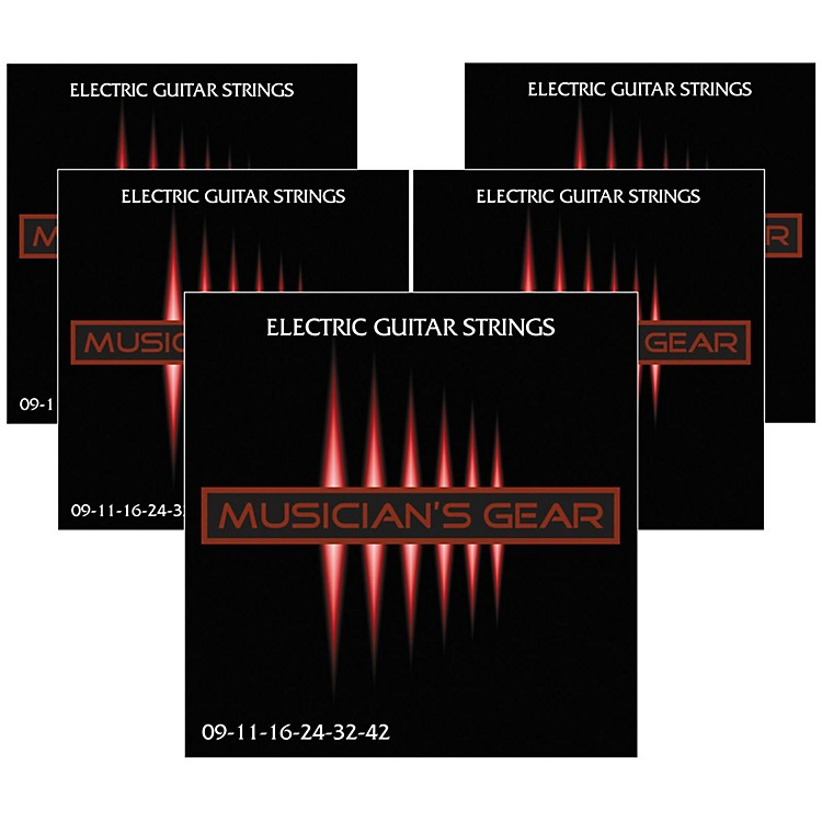 Musician's GearElectric Nickel Plated Steel Guitar Strings 9-42 - 5-Pack