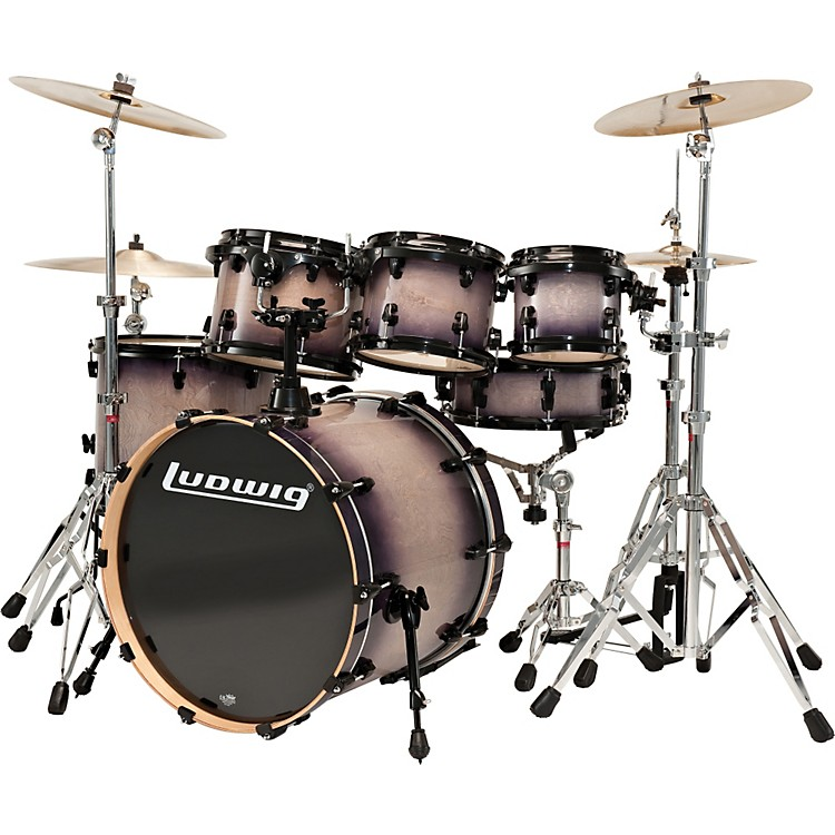 Ludwig Element Lacquer 6-Piece Power Fusion Shell Pack Black-Burst