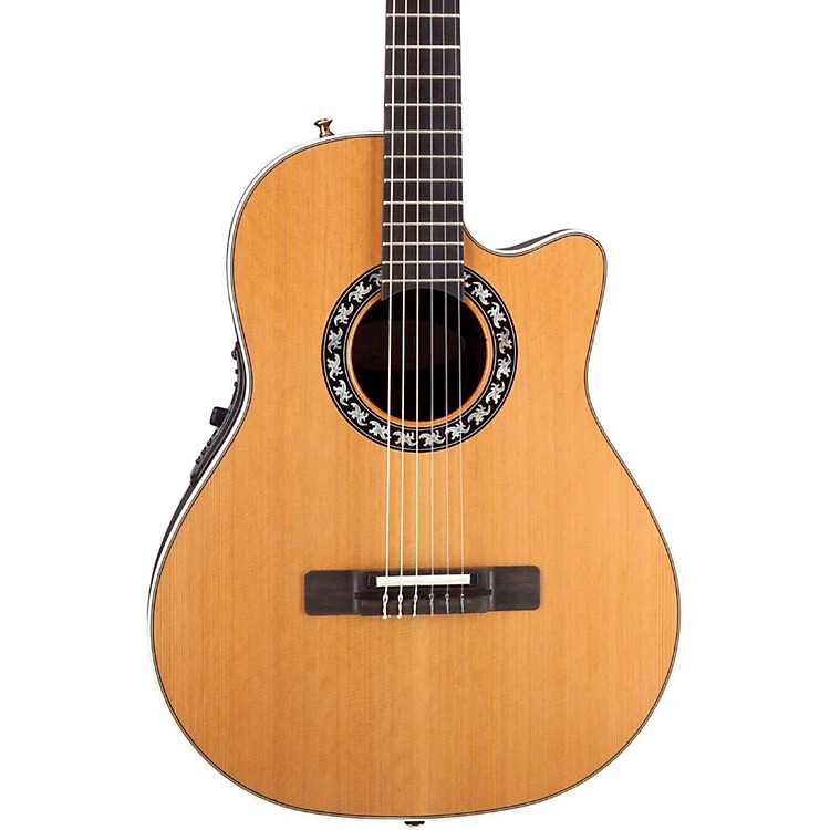 Ovation Elite AX Mid-Depth Cutaway Acoustic-Electric Nylon String Guitar