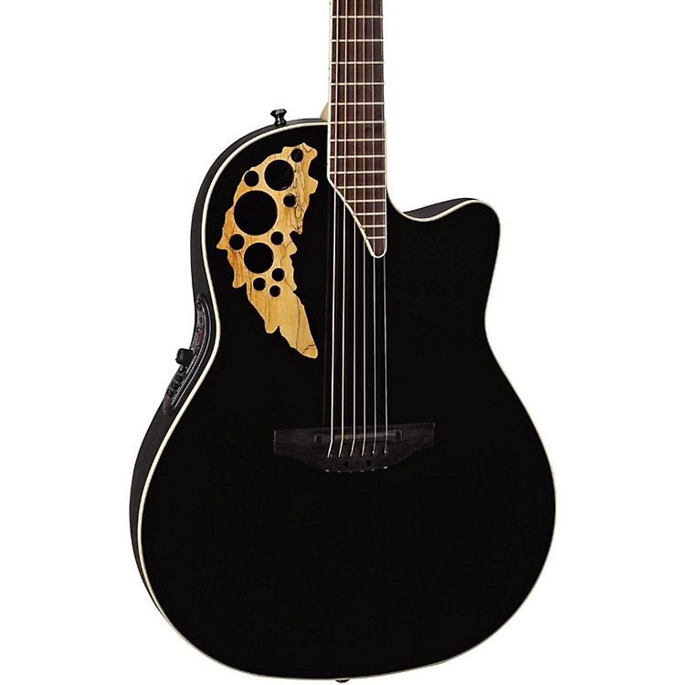 Ovation Elite TX Mid Depth Cutaway Acoustic-Electric Guitar Black