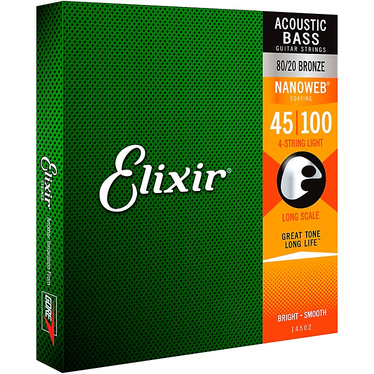 ElixirElixir Strings 80/20 Bronze Acoustic 4-String Bass Strings with NANOWEB Coating, Long Scale, Light (.045-.100)
