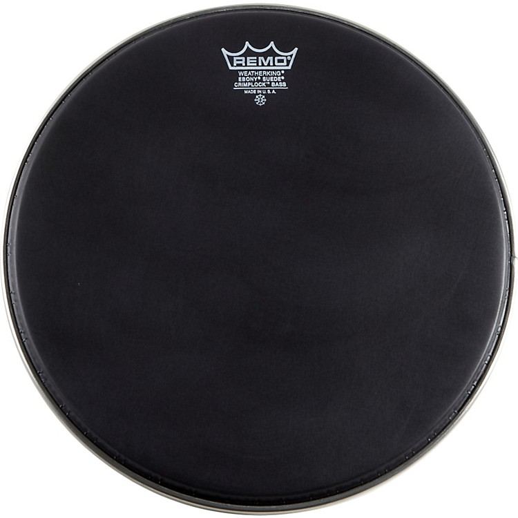 Remo Emperor Ebony Suede Crimplock Marching Bass Drumhead Black Suede 16