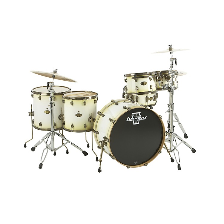 LudwigEpic 6-Piece Pro Beat Shell Pack with Vintage Bronze Rims & LugsAttic White