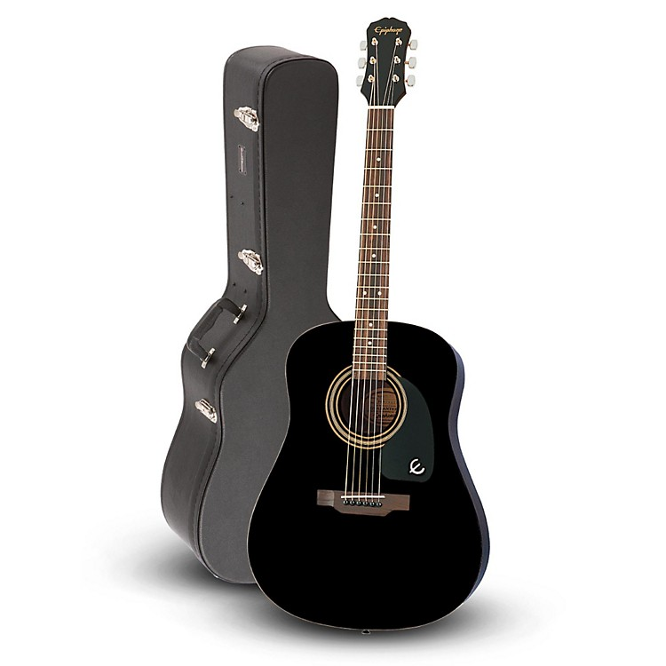 EpiphoneEpiphone DR-100 Acoustic Guitar Black  with Road Runner RRDWA Case