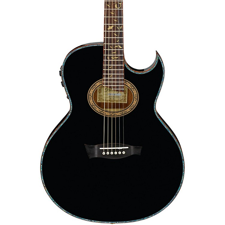 IbanezEuphoria Steve Vai All Solid Wood Signature Acoustic-Electric GuitarHigh Gloss Black Pearl