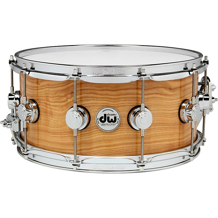 DW Exotic Figured Olive Ash Lacquer Snare 14 x 6.5 Inch Chrome Hardware