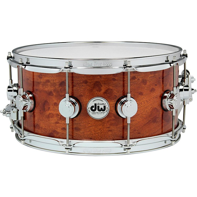 DW Exotic Sapele Pommele Lacquer Snare 14 x 6.5 Inch Chrome Hardware