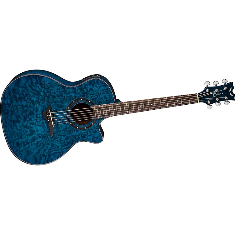 Dean Exotica Quilt Ash Acoustic-Electric Guitar w/Aphex Transparent Blue