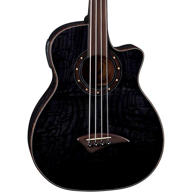 DeanExotica Quilt Fretless Acoustic-Electric BassTrans Black