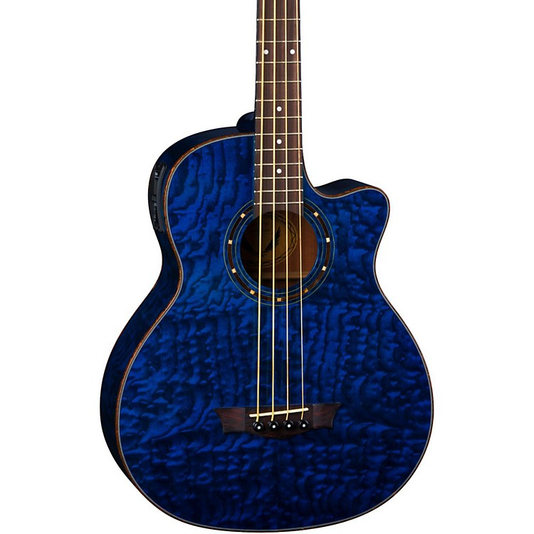 Dean Exotica Quilted Ash Acoustic-Electric Bass Guitar with Aphex Blue