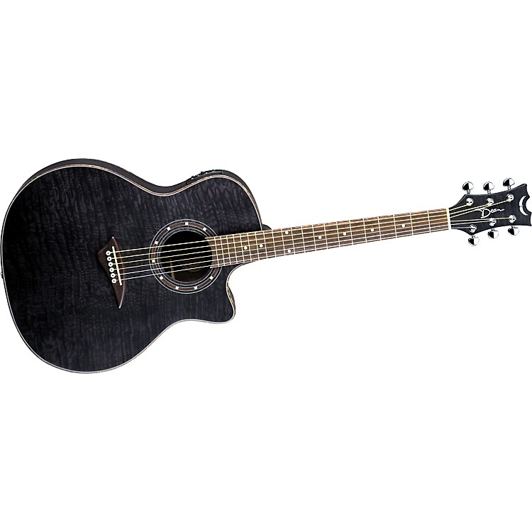 DeanExotica Quilted Ash Acoustic-Electric GuitarSatin Transparent Black