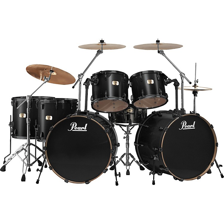 Pearl Export Double Bass 7 Piece Drum Set Jet Black | Music123