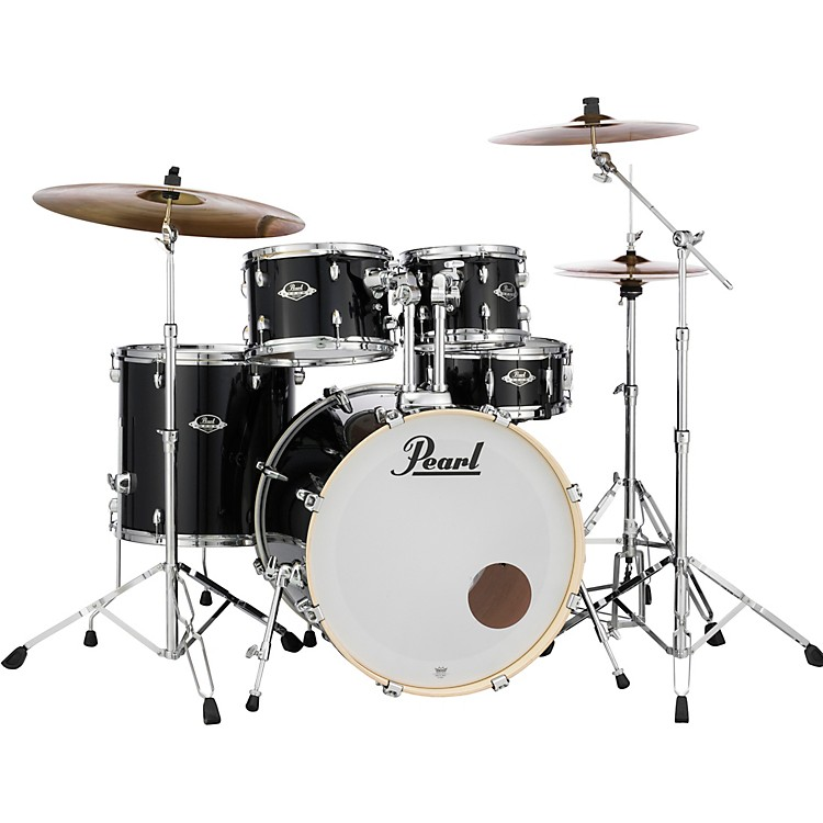 PearlExport New Fusion 5-Piece Drum Set with HardwareJet Black