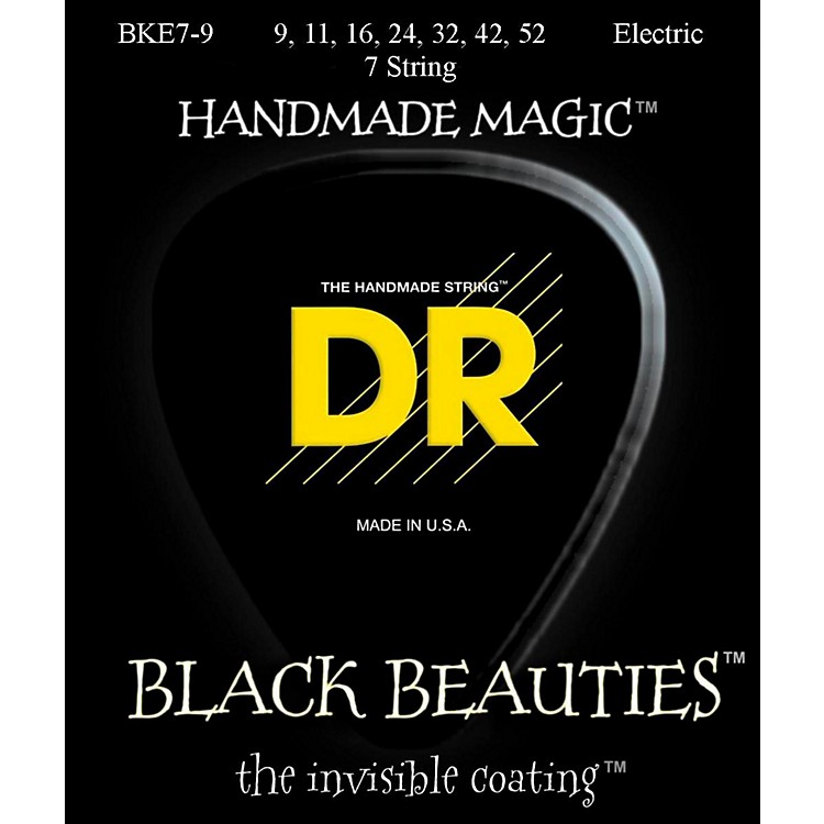 DR StringsExtra Life BKE7-9 Black Beauties Coated Light Electric Guitar Strings - 7 String Set