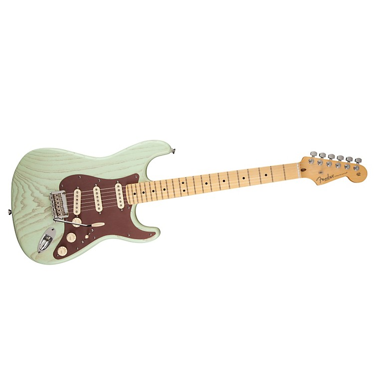 Fender FSR American Stratocaster Rustic Ash Electric Guitar Surf Green Maple Fingerboard