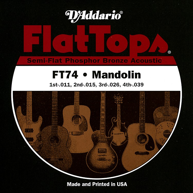 D'Addario FT74 Flat Tops Phosphor Bronze Mandolin Strings Medium
