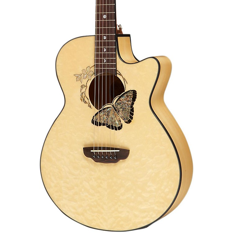 Luna Guitars Fauna Butterfly Acoustic-Electric Guitar Transparent Natural