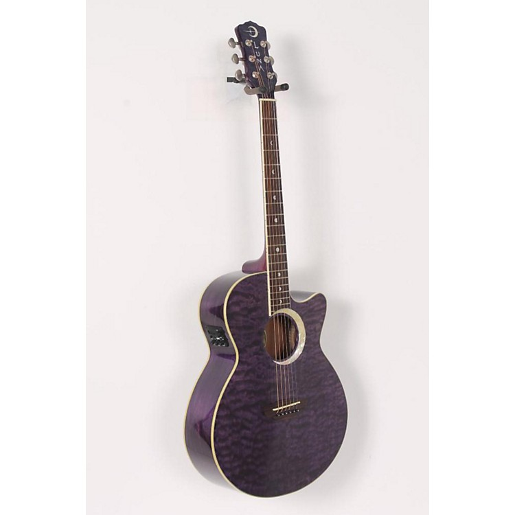 Luna Guitars Fauna Eclipse Folk Acoustic-Electric Guitar Quilted Maple with Transparent Purple Finish 886830564468