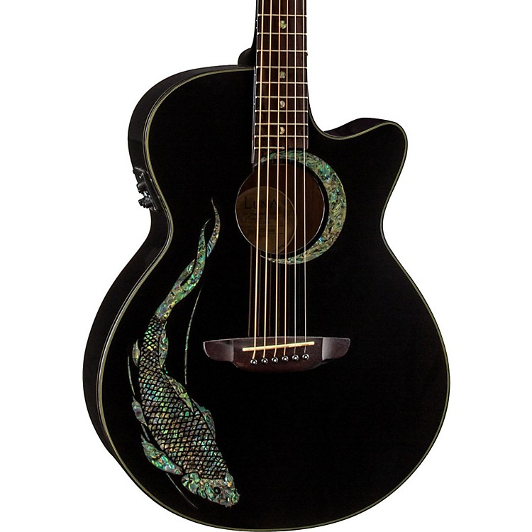 Luna Guitars Fauna Folk Acoustic-Electric Guitar Black Koi Design