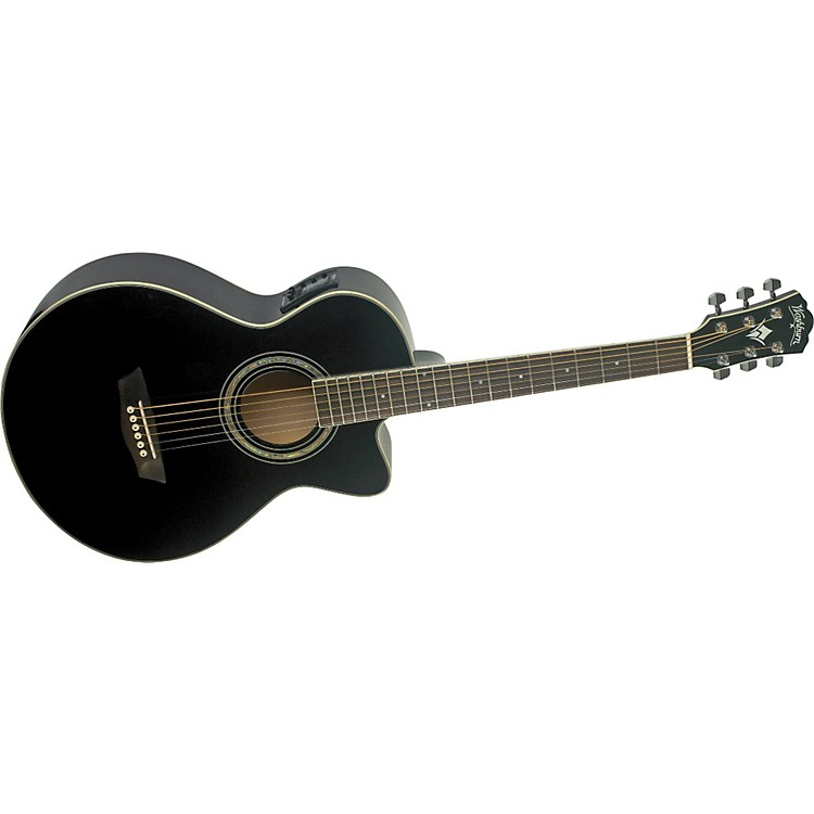 Washburn Festival EA10 Acoustic Cutaway Electric Petite Jumbo Guitar With 4-Band EQ Black