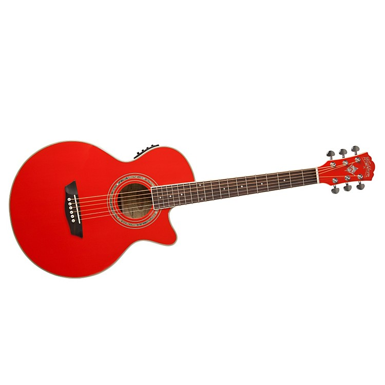 Washburn Festival EA10 Acoustic Cutaway Electric Petite Jumbo Guitar With 4-Band EQ Red