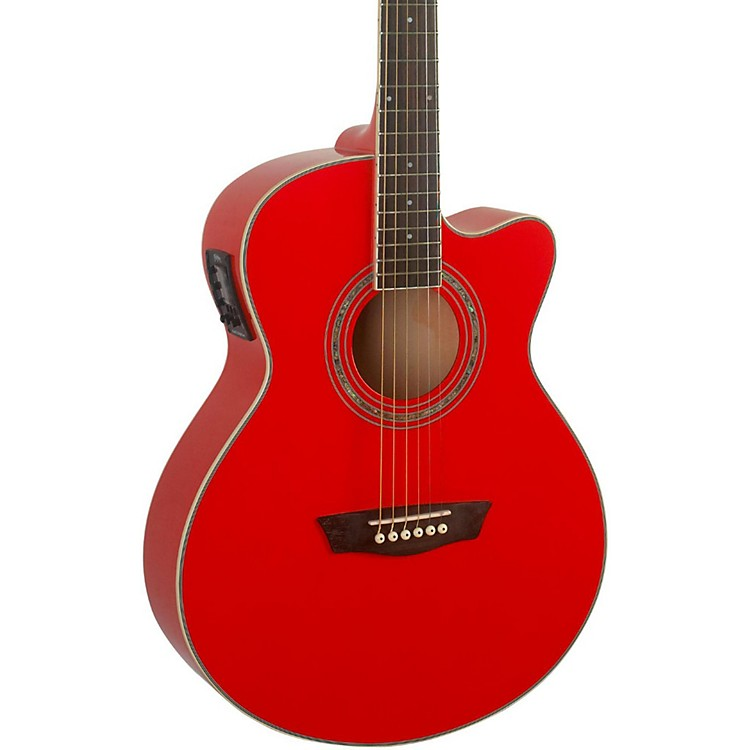 Washburn Festival EA12 Acoustic Cutaway Electric Mini Jumbo Guitar With 4-Band EQ Red